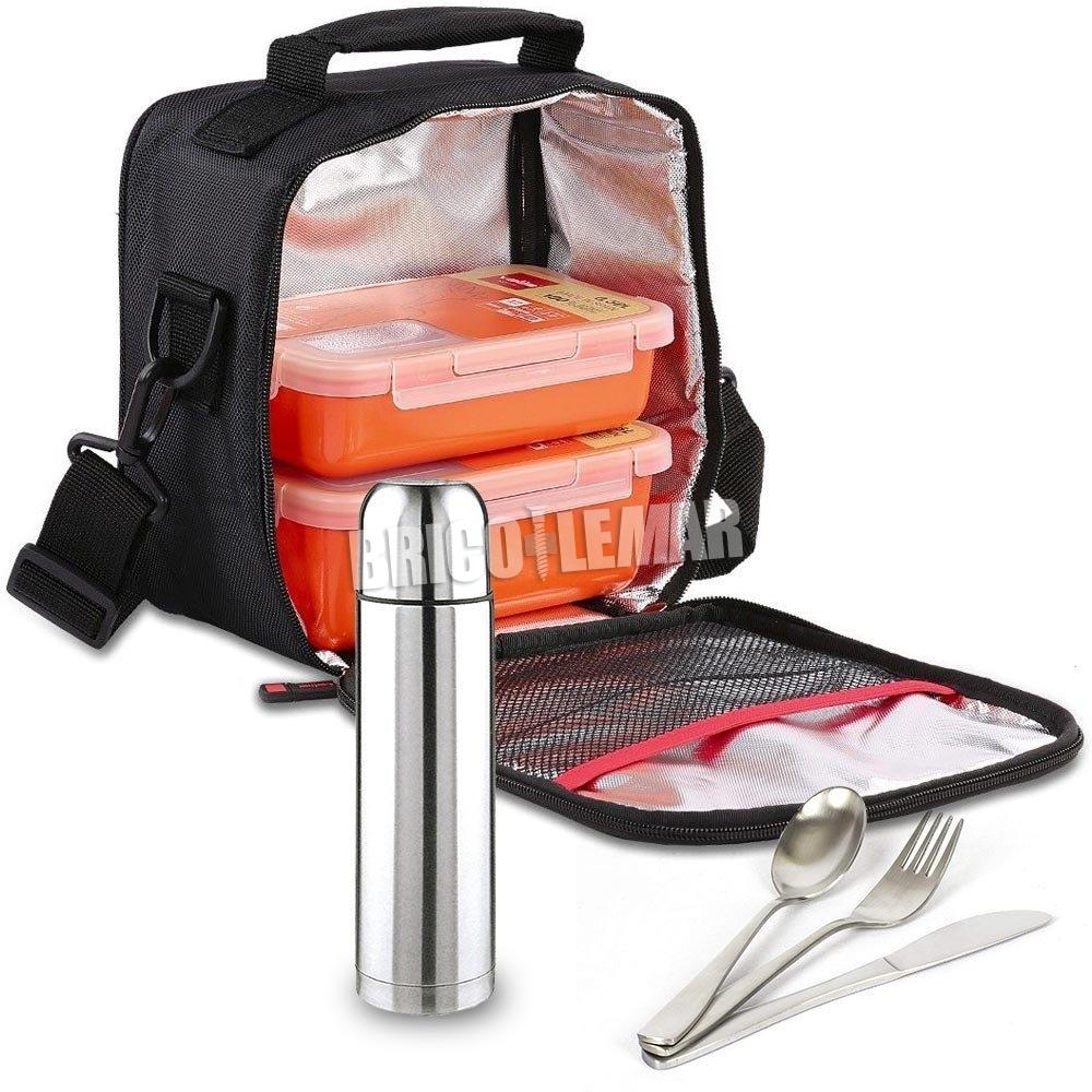 Kit de suporte do saco 2 de laranja alimentos compactos mais recipientes, cobertos Valira e do estilo de vida térmica Kabra