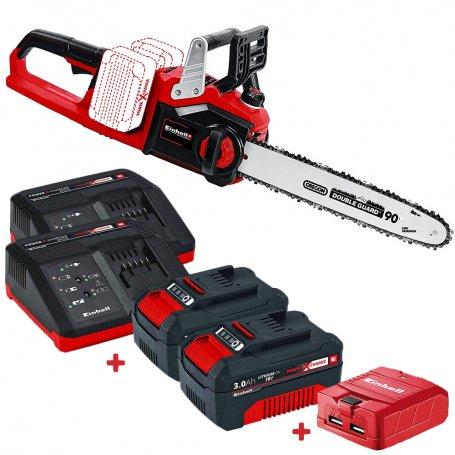 Chainsaw EINHELL Battery Kit GE-LC 36/35 3Ah Li + 2 Baterias com carregadores + adaptador USB