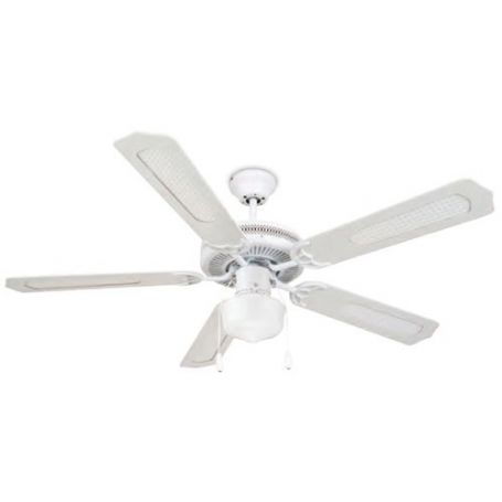 White Ceiling Fan 5 Wooden Blades Garsaco