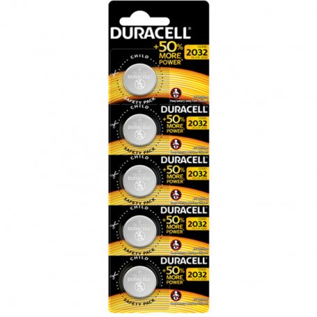 DL2032 3V Lithium button battery Duracell strip 5 units