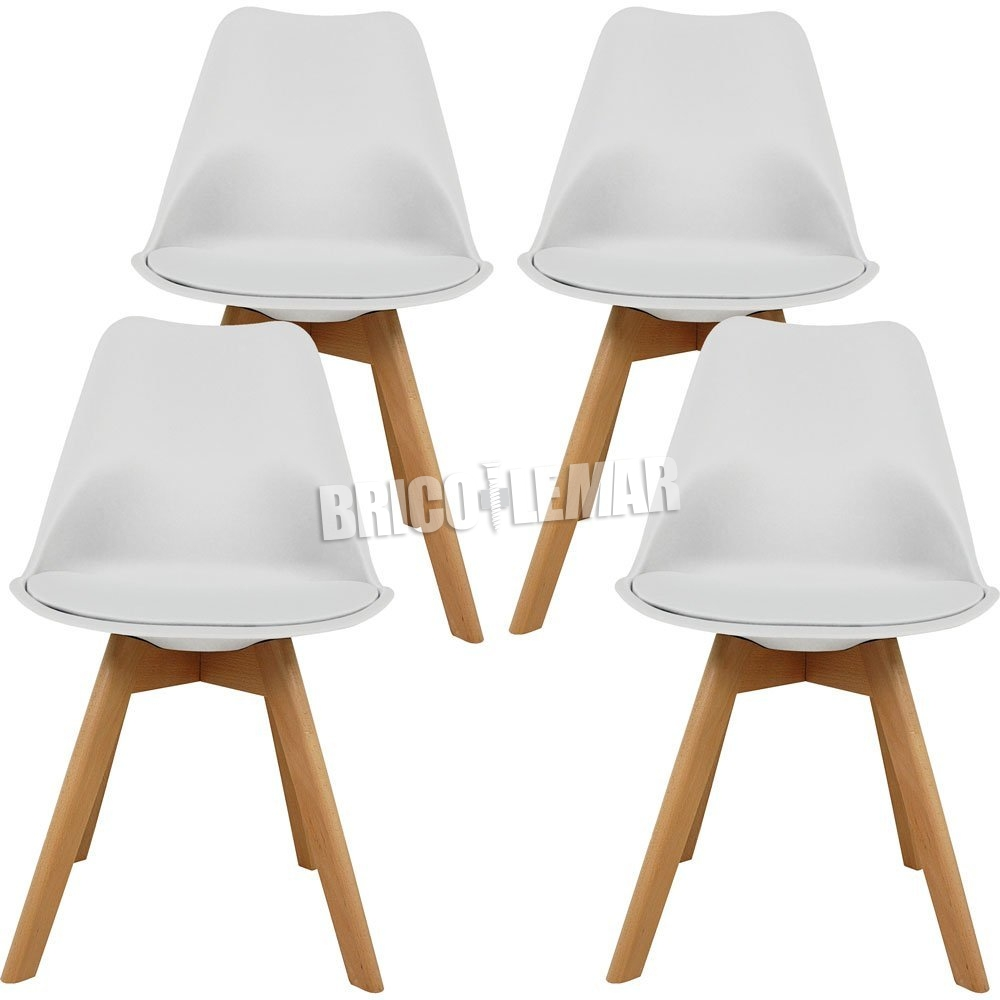 Buy Pack 4 Dining Chairs Dana White Furniture Style Bricolemar