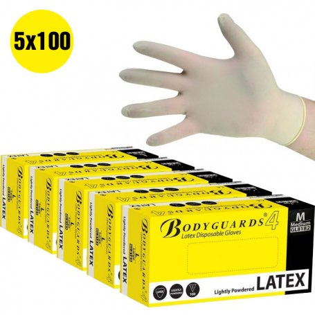 5-pack Bodyguards Latex Lightly Powdered Gloves size L boxes of 100