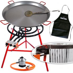 Bricolemar Paella Pan 70 cm with Paella Pan 90 cm Regulator and Butane Hose Skimmer and Apron Gift Reinforced Stand