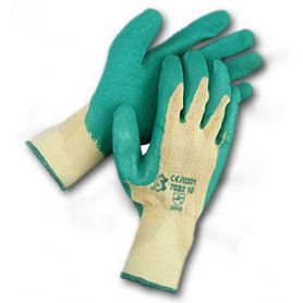 Cotton back green latex gloves size 8 Cipisa