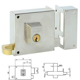 125 Rim lock YALE RIGHT HAND 120MM NICKEL AZBE